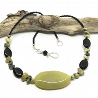 Jade, Black Agate and Yellow Turquoise Gemstone Statement Necklace
