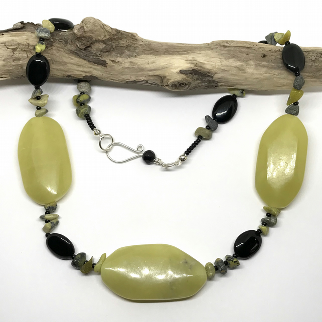 Statement Gemstone Necklace, Jade, Black Agate & Yellow Turquoise Chips