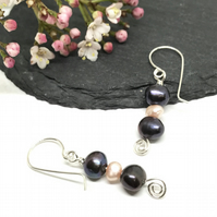 Freshwater Pearl Earrings, Sterling Silver