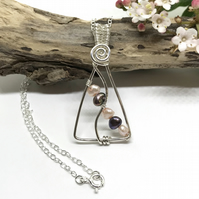 Pearl Pendant, Sterling Silver, Gift for Her