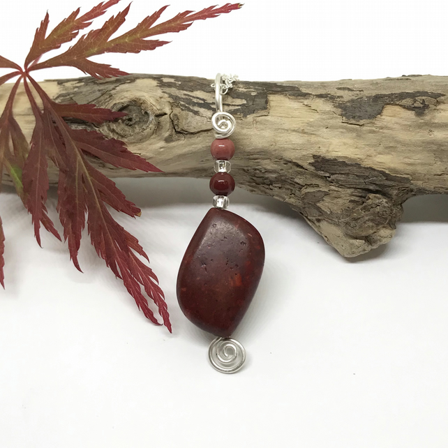 Red Jasper Pendant, Sterling Silver, Red Brown