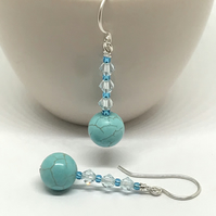 Turquoise Earrings, Sterling Silver, Aqua Crystals
