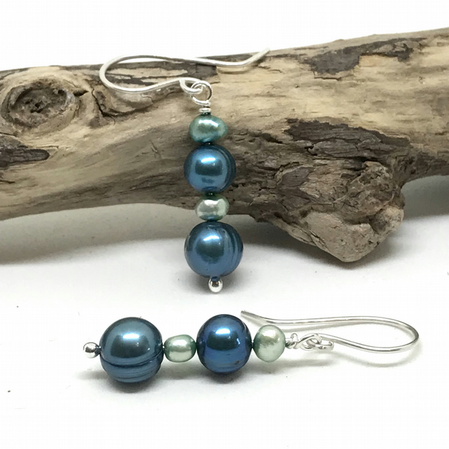 Pearl Earrings, Sterling Silver, Dark and Light Teal