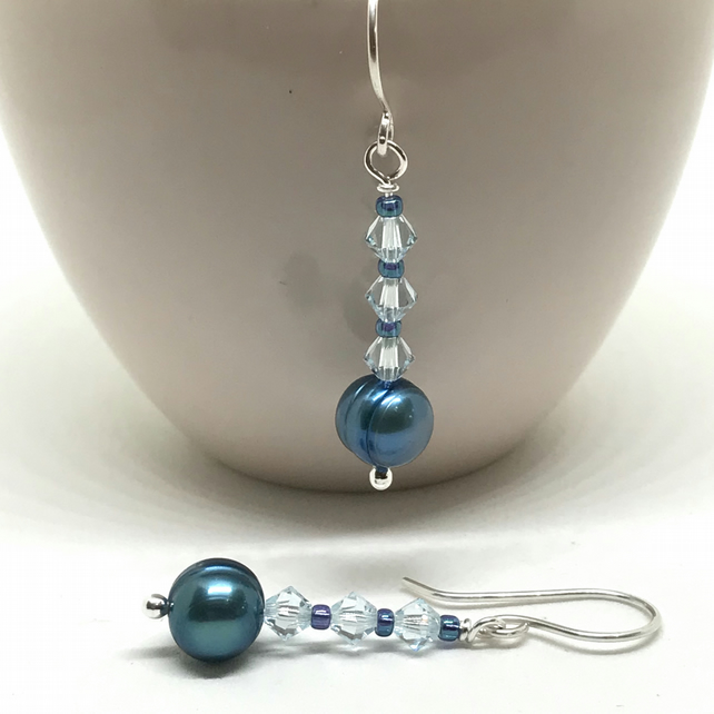 Elegant Pearl and Crystal Earrings, Sterling Silver, Teal and Aqua