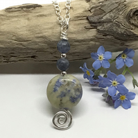 Blue and Cream Gemstone Pendant, Sodalite, Sterling Silver