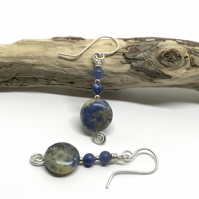 Blue Gemstone Earrings, Sodalite, Sterling Silver