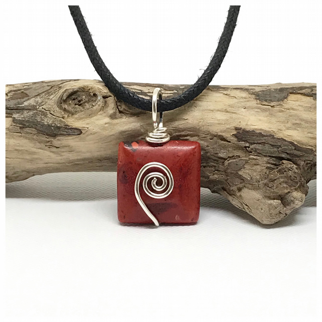 Red Jasper Pendant, Sterling Silver