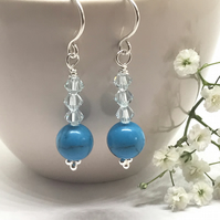 Turquoise Earrings, Sterling Silver, Swarovski® Crystal