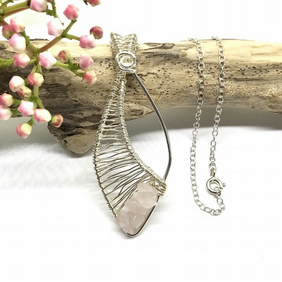 Rose Quartz Necklace, Sterling Silver