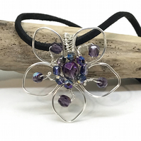 Purple Flower Pendant, Silver Plate