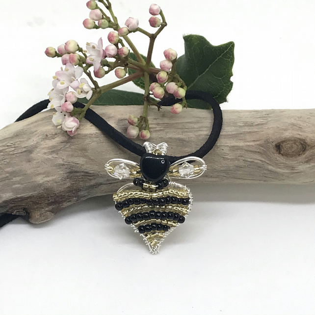 Silver Heart Shaped Bee Pendant