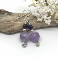 Amethyst Earrings, Sterling Silver