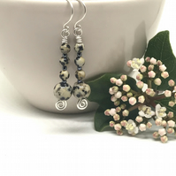 Dalmatian Jasper Earrings, Sterling Silver, Cream and Black