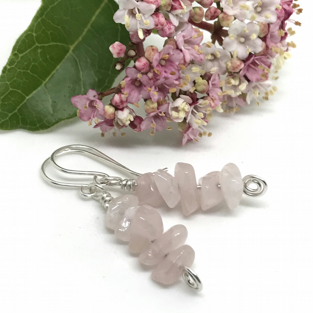 Rose Quartz Earrings, Sterling Silver Drop Earrings