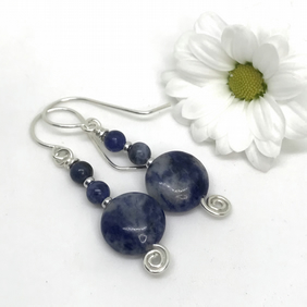 Blue Sodalite Earrings, Sterling Silver