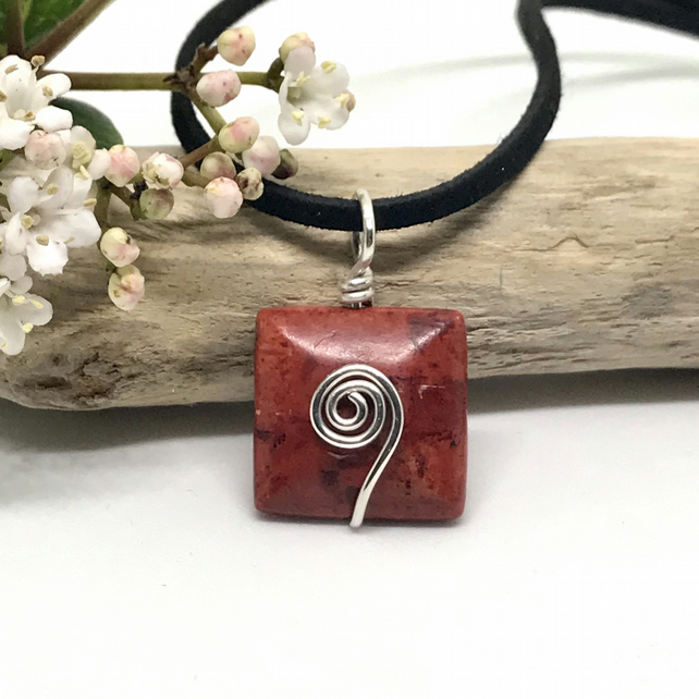 Sterling Silver and Red Jasper Pendant