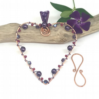 Copper Wire Work Heart Decoration, Pink and Purple