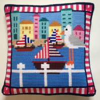 Cross Stitch Kit - Stitch Your Own Cushion Front - Gus The Gull At The Marina