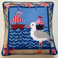 Cross Stitch Kit - Stitch Your Own Cushion Front - Gus The Gull At The Regatta