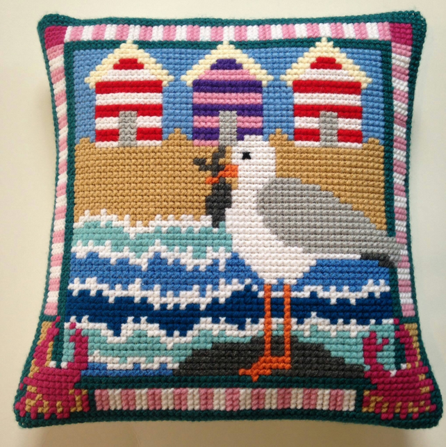 Cross Stitch Kit - Stitch Your Own Cushion Front - Gus The Gull On Holiday