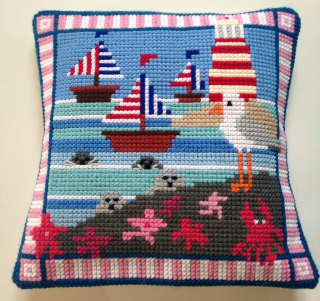 Cross Stitch Kit - Stitch Your Own Cushion Front - Gus The Gull And Friends