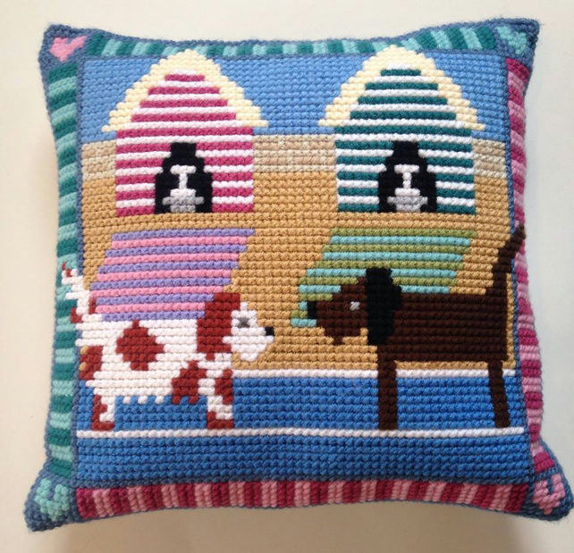 Cross Stitch Kit - Stitch Your Own Cushion Front - Lottie And Henry At The Beach
