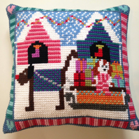 Cross Stitch Kit - Stitch Your Own Cushion Front - Lottie And Henry With Sleigh
