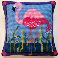 Cross Stitch Kit - Stitch Your Own Cushion Front - Florence The Flamingo
