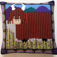 Cross Stitch Kit - Stitch Your Own Cushion Front - Hamish The Highland Cow
