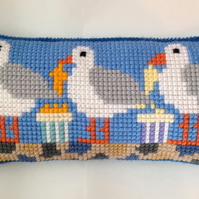 Cross Stitch Kit - Stitch Your Own Cushion Kit - Gus The Gull & Friends Dine Out