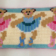 Cross Stitch Kit - Stitch Your Own Cushion Kit - Ballerina Bears