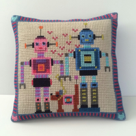 Cross Stitch Kit - Stitch Your Own Cushion Front - Robin and Ruby Robots