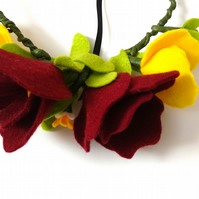 Felt floral crown, Red and yellow, flower crown