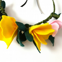 Felt floral crown, yellow,pink and white, flower crown