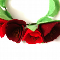 Felt floral crown, Red poppy flower