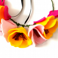 Felt floral crown, Pink and yellow, Poppy flower
