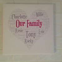 SWAROVSKI Canvas Picture, Personalised Art, Family Names
