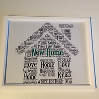 New home picture. Housewarming gift. Word art