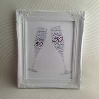 Milestone birthday, customised word art, friends birthday, birthday present