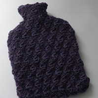 Purple Textured Hot Water Bottle Cover