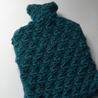 Bright Blue Textured Hot Water Bottle Cover