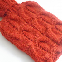 Tomato Red Alpaca Mix Cabled Hot Water Bottle Cover