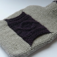 Silver Grey Alpaca Mix Hot Water Bottle Cover with Purple Cable Pocket