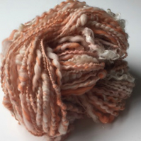 Hand Spun Art Yarn Peaches and Cream