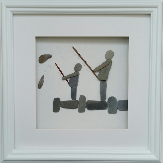 Pebble Art Father and Son Fishing - Folksy