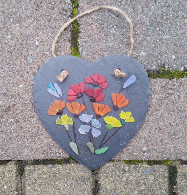 Sea Glass Flowers on a Slate Heart