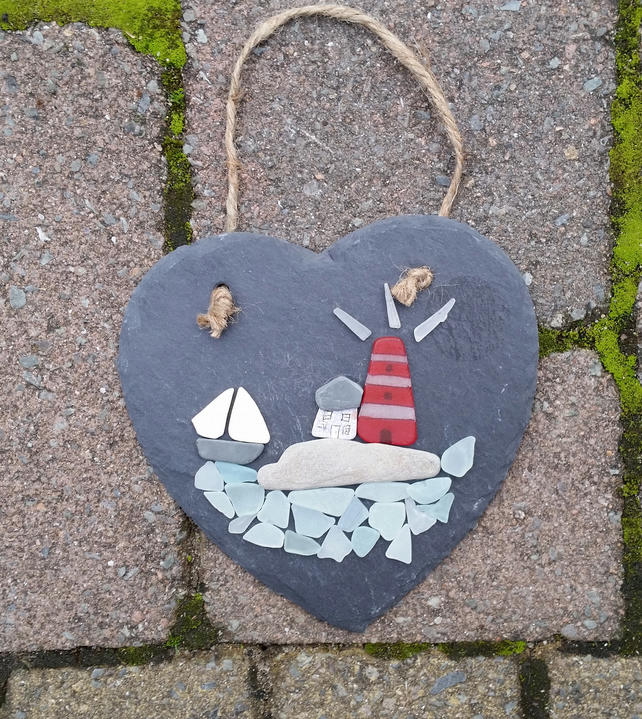 Cornish Scene on Slate Heart