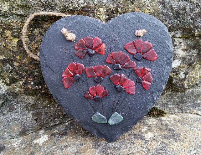 Sea Glass Poppies on Slate Heart