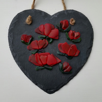 Anniversary Gift, Birthday Gift, Ruby, Red Roses, Slate Heart