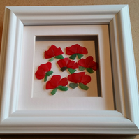 Stained Glass Red Roses, Ruby Anniversary Gifts, Sea Glass Art, Picture frames,